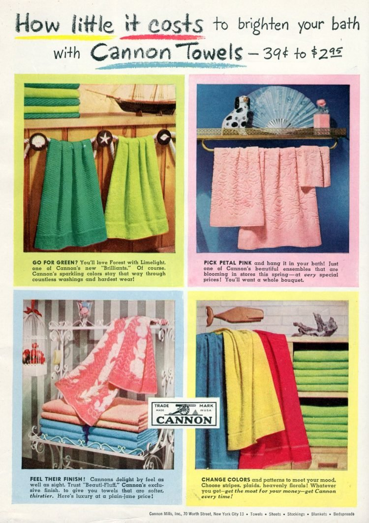 Brighten your bathroom with cannon towels - 1952