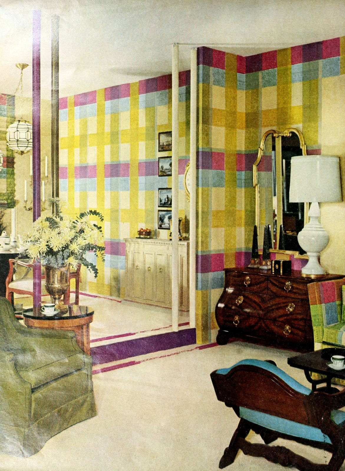 Brightly-colored plaid wall decor in this living-dining room from 1962