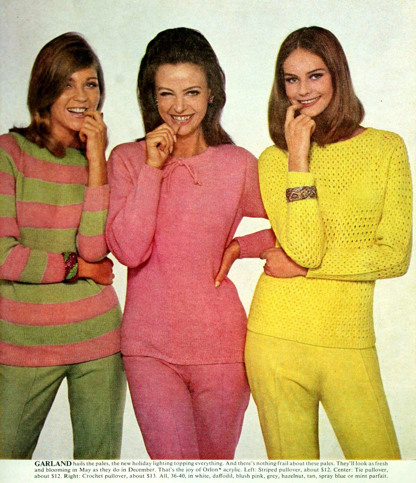 Brightly-colored vintage sweater styles from 1965