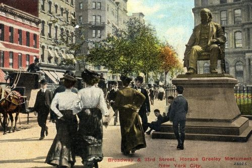 Broadway and 33rd Street - New York - antique postcard