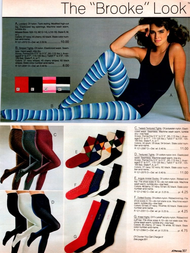 Brooke Shields tights and socks