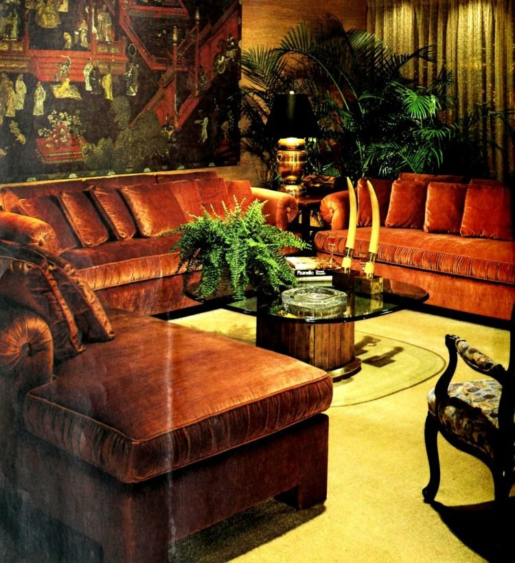 Brown 70s sectional vintage sofa