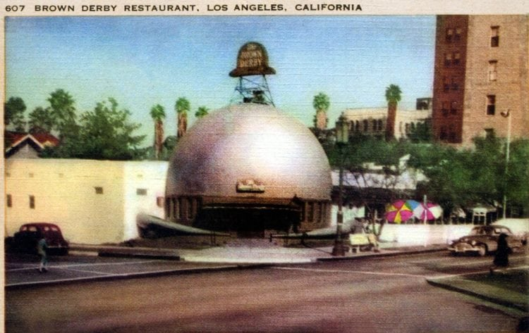 Vintage Hollywood landmark - The Brown Derby restaurant in Los Angeles