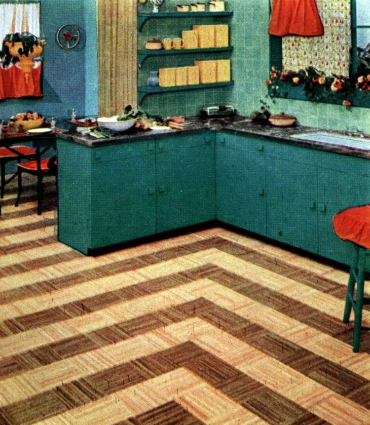 Brown and beige flooring stripes in fifties retro home decor