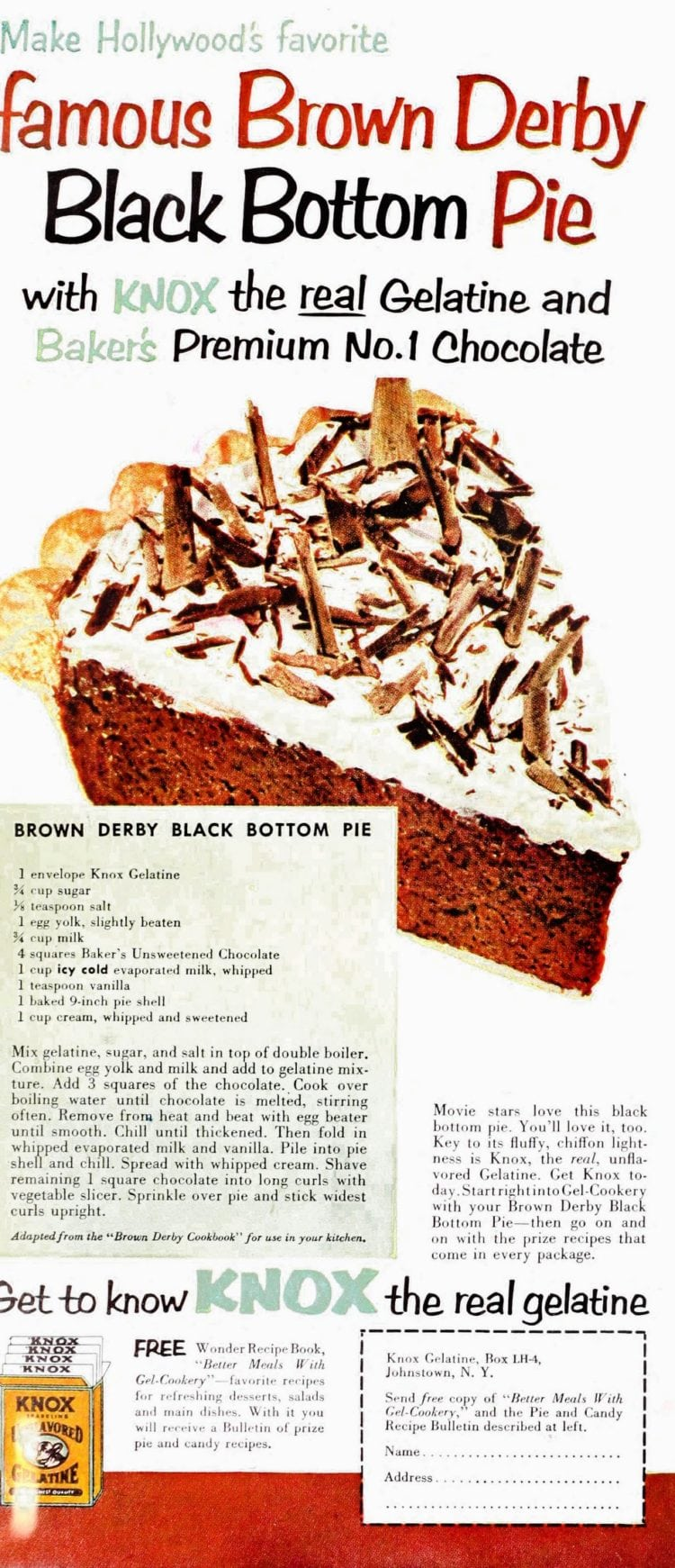 Brown derby black bottom pie recipe