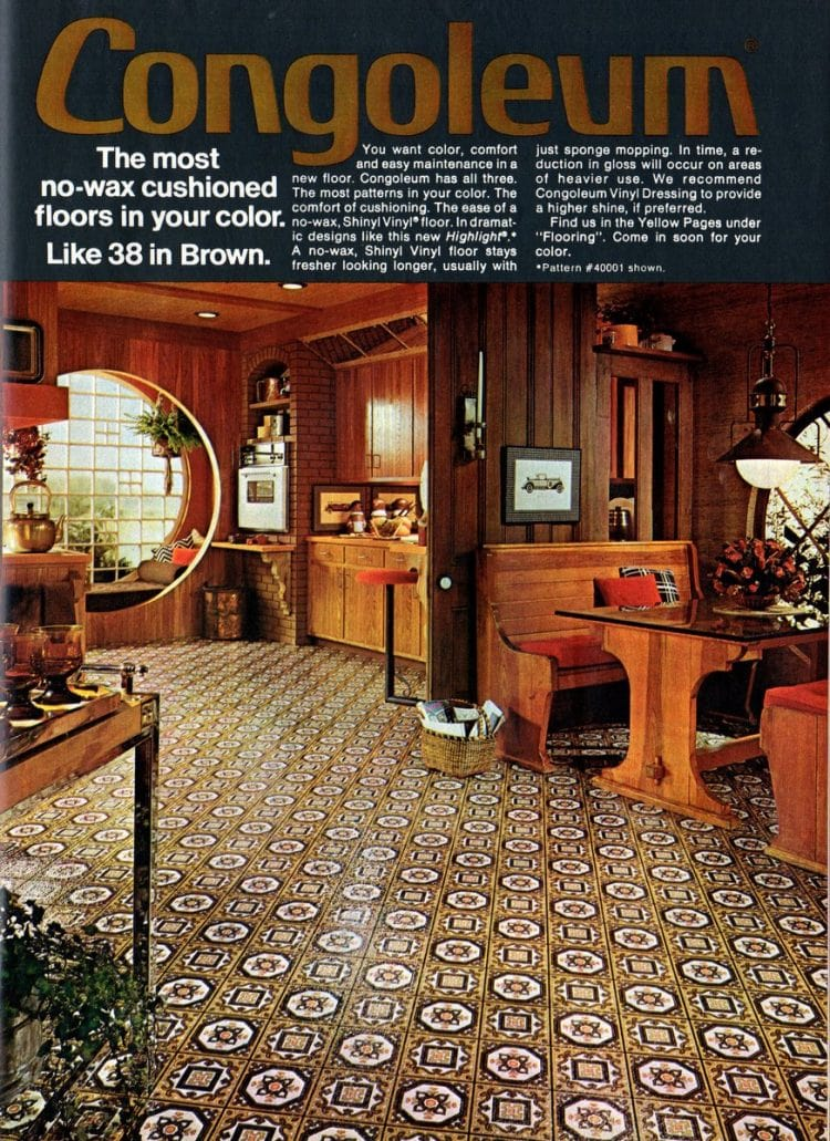 Brown retro vinyl roll flooring and kitchen decor from 1975