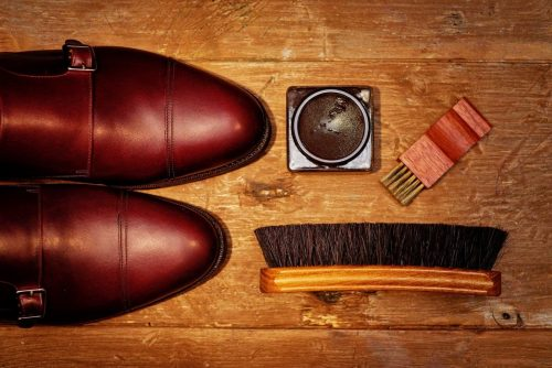 Brown shoe polish and shoes