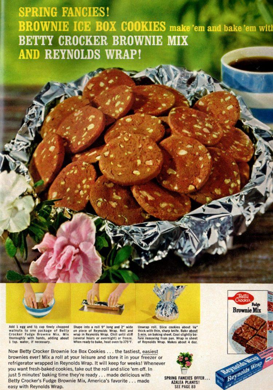 Brownie ice box cookies retro recipe (1962)
