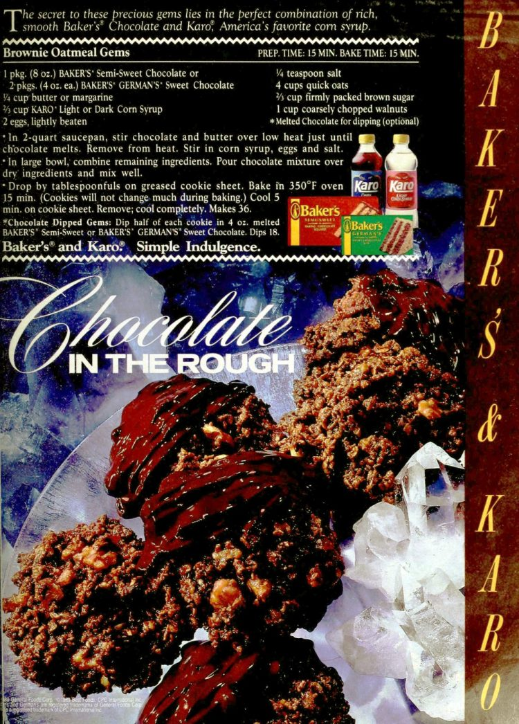 Brownie oatmeal gems vintage 80s dessert recipe