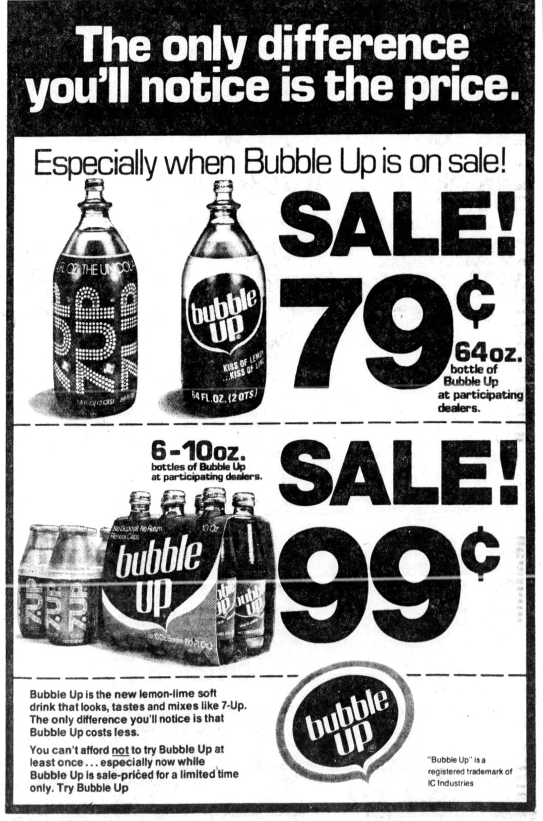 Bubble Up vs 7-Up soda (1975)