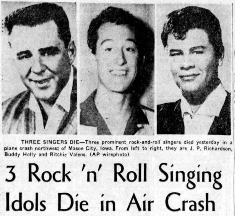 Buddy Holly Valens plane crash San_Bernardino_County_Sun Feb 4 1959_