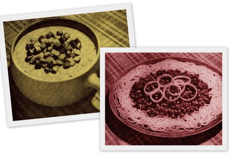 Budget meals Chili bean spaghetti and Succotash chowder (1950)