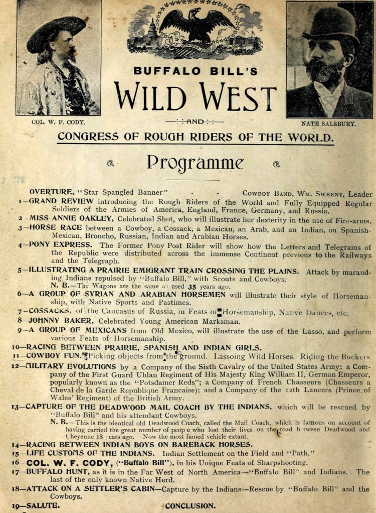 Buffalo Bill's Wild West - Congress of Rough Riders of the World Programme schedule