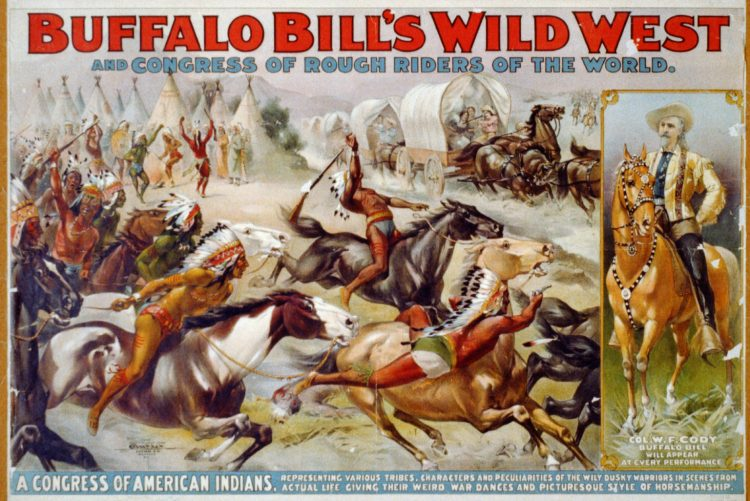 Buffalo Bill's Wild West - Poster showing American Indians leading attack against pioneers in covered wagons - 1899