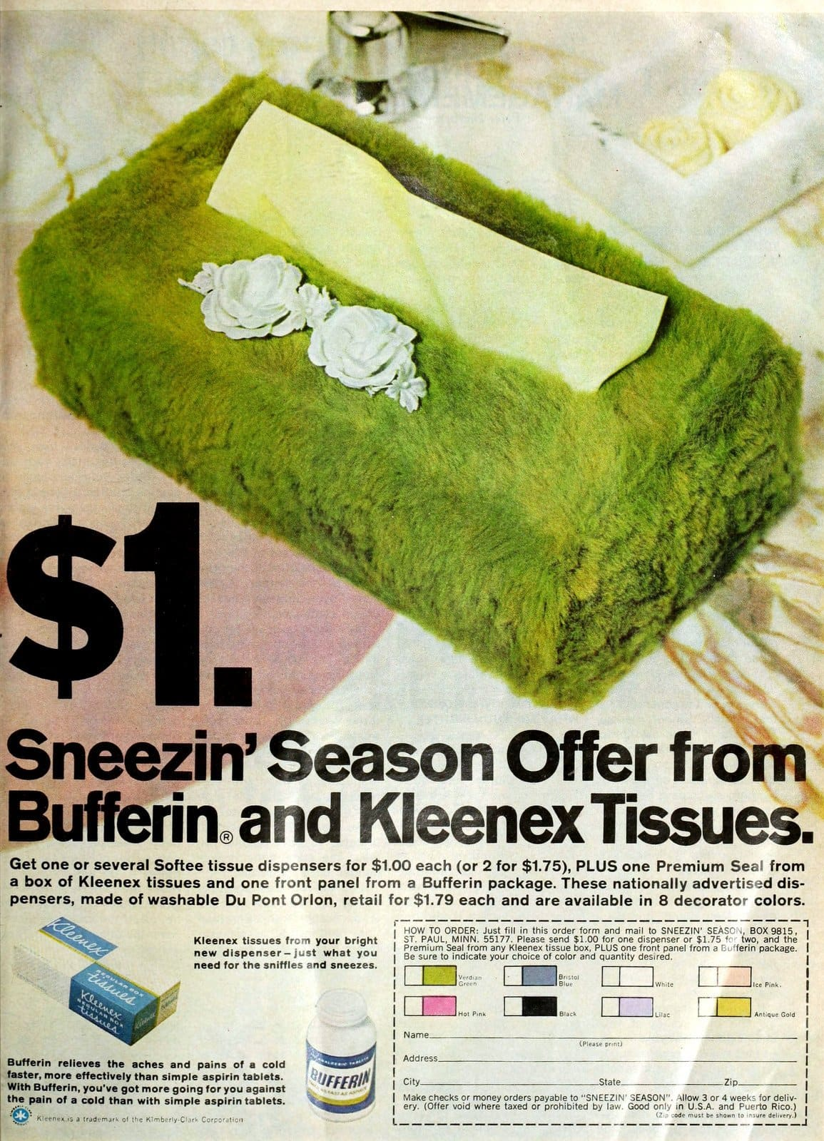 Bufferin and Kleenex fuzzy shag tissue box dispenser mail-in offer (1967)