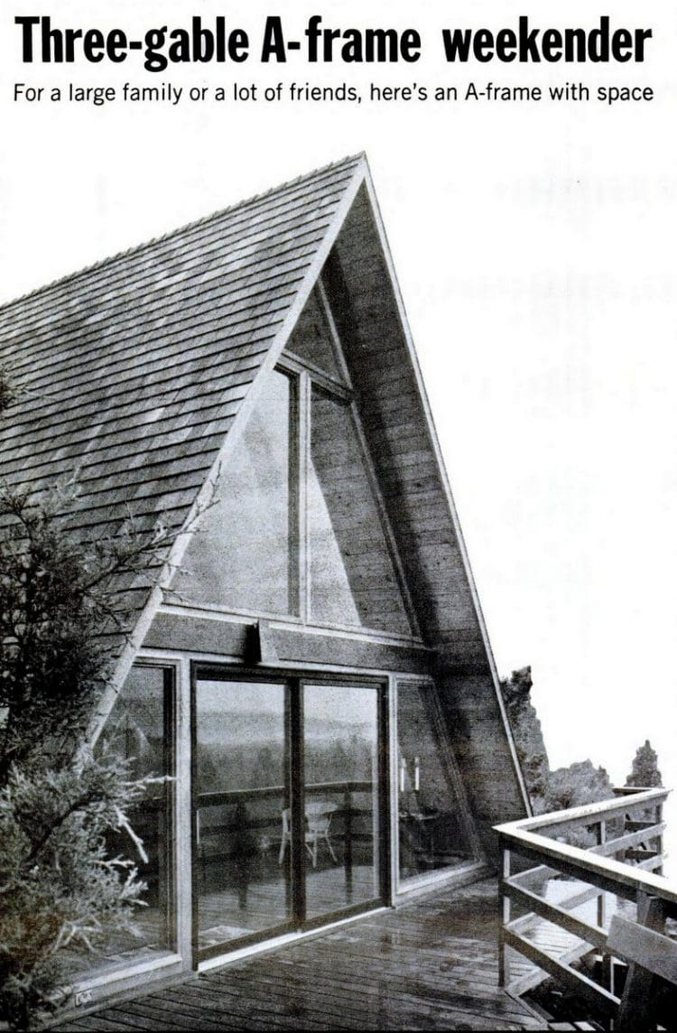 Building a three-gable A-frame cabin vacation house from the 60s