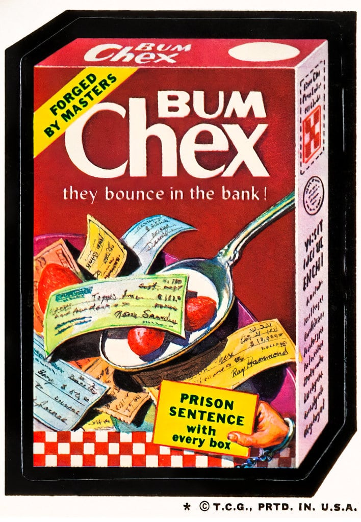Bum Chex cereal - Wacky Packages from the 1970s