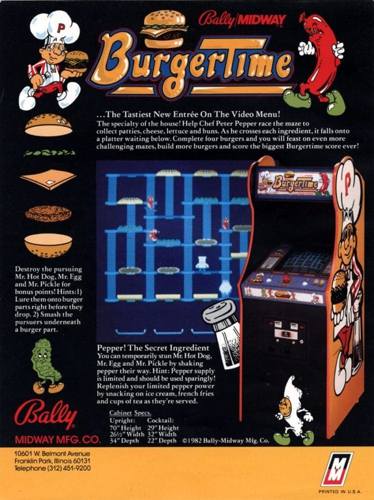 Burger Time arcade game 1982