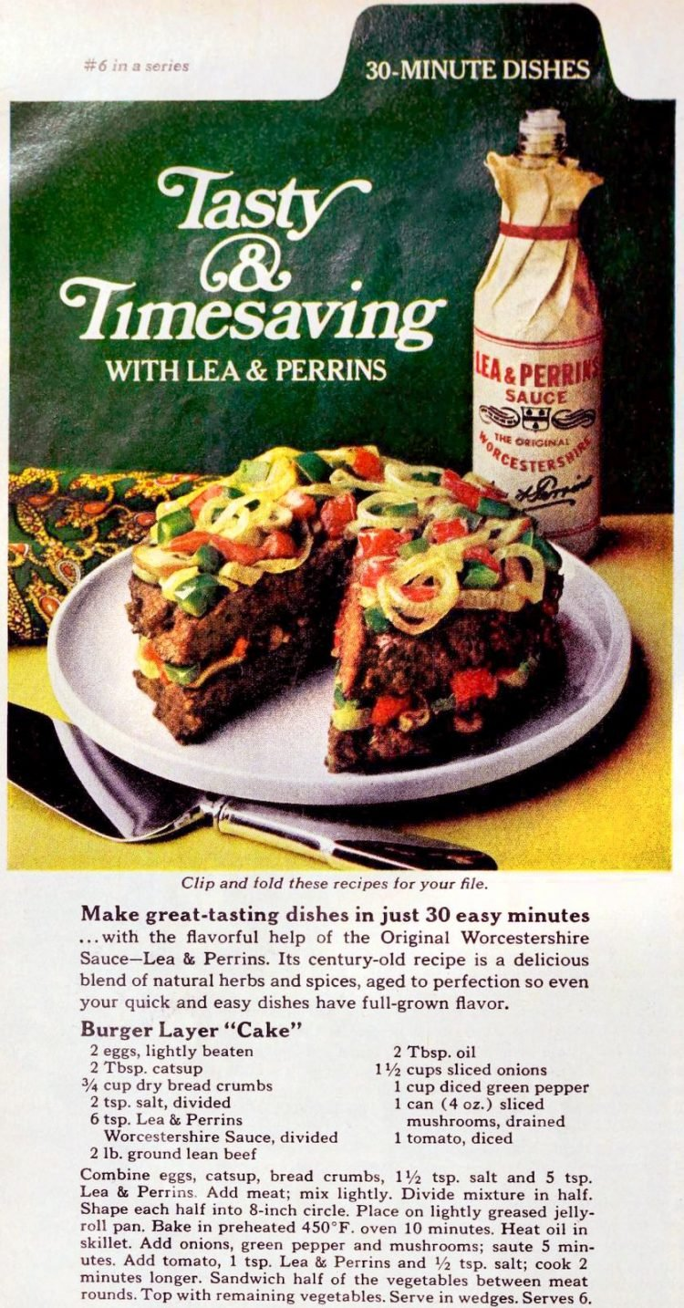 Burger layer cake Quick vintage recipe for a creative meatloaf dinner