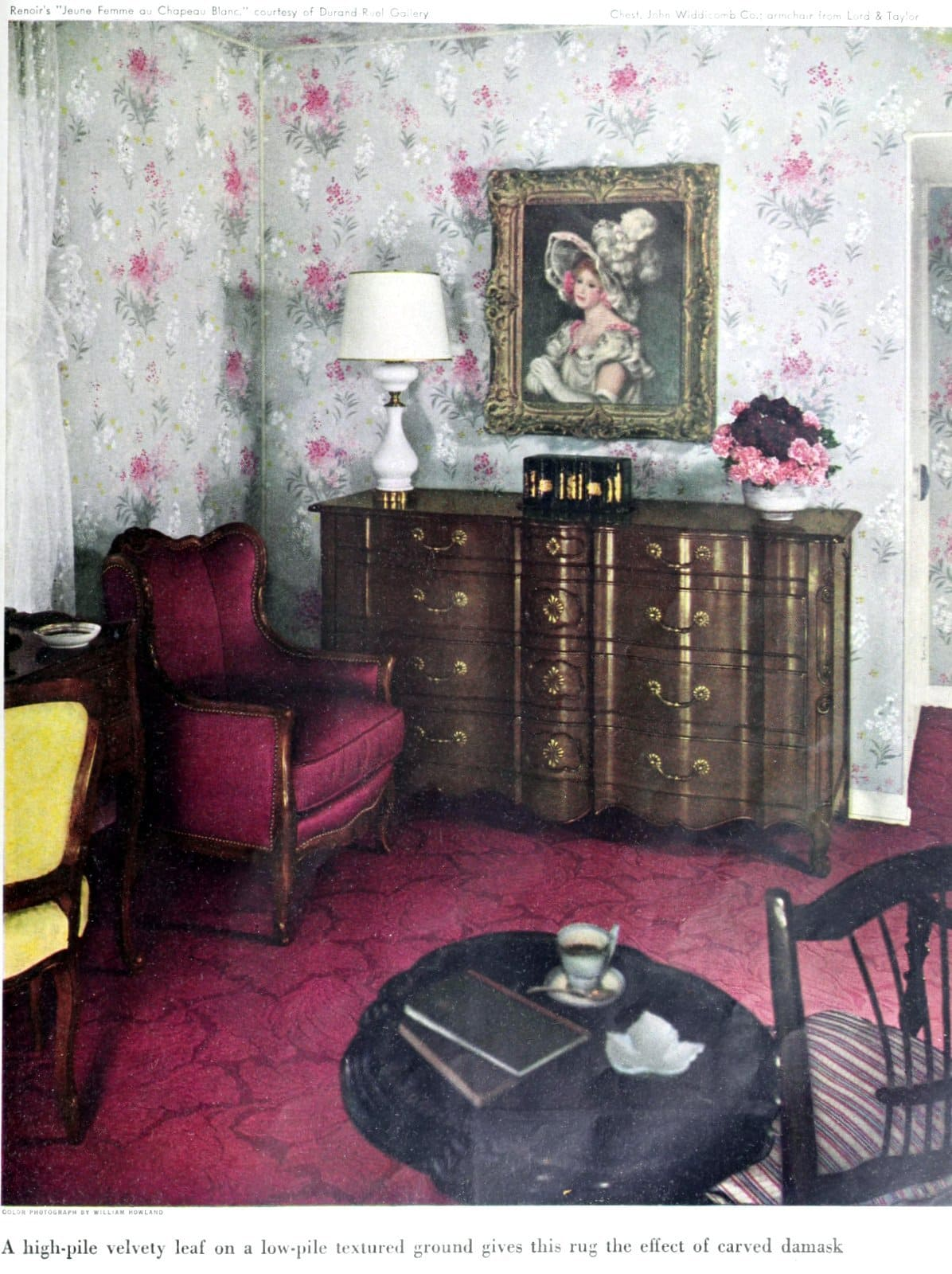 Burgundy patterned wall-to-wall carpeting (1949)