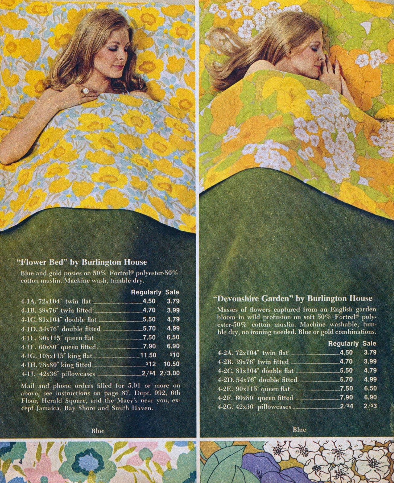 Vintage flowery sheets from Burlington House