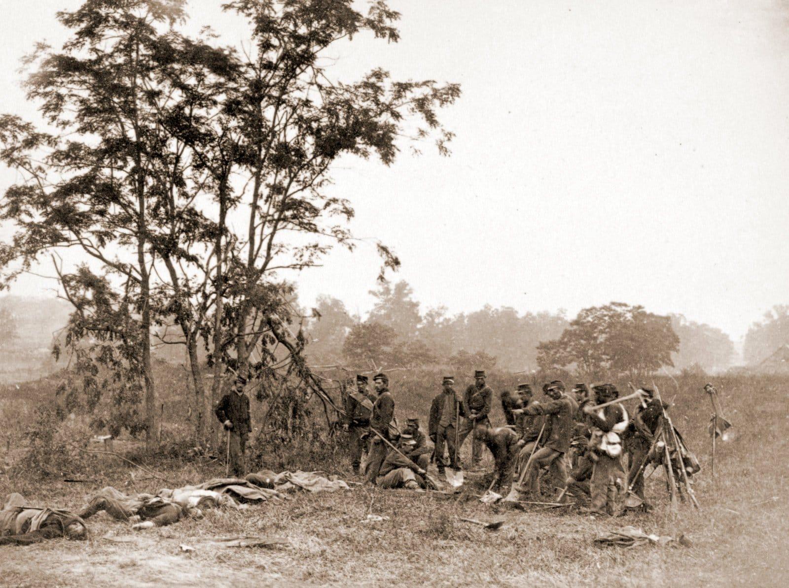 Burying the dead on the battlefield of Antietam