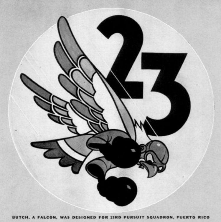 Butch, a falcon, was designed for 23rd Pursuit Squadron, Puerto Rico
