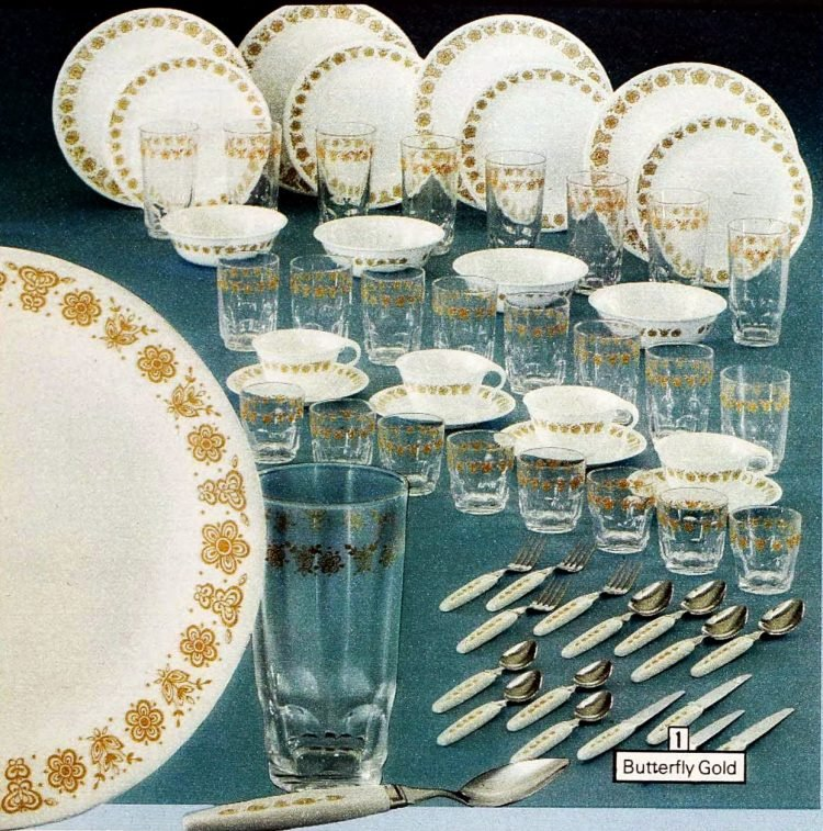Butterfly gold Corelle Livingware and glassware from 1979