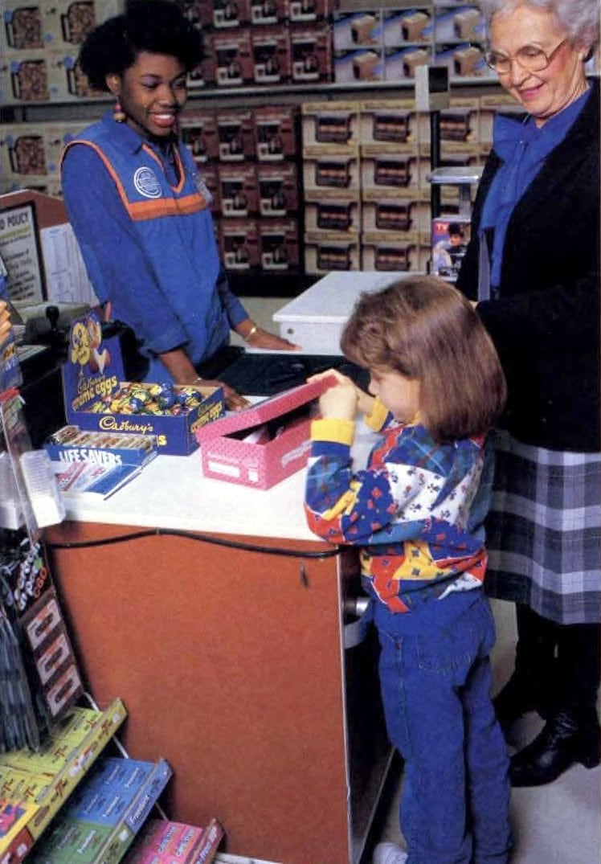 Buying self-serve girls' shoes at Walmart (1987)