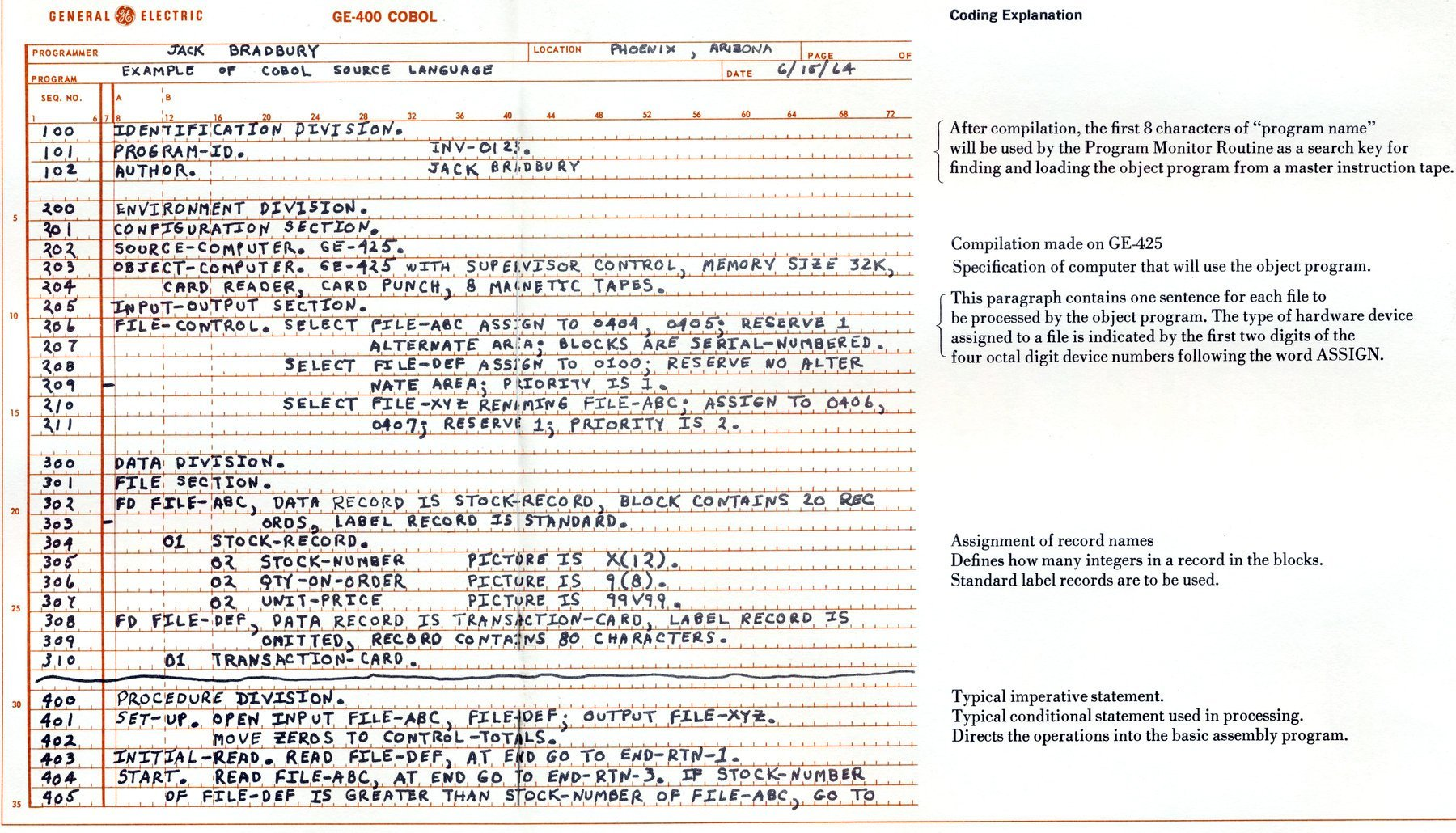 COBOL programming language from the sixties - General Electric (1)
