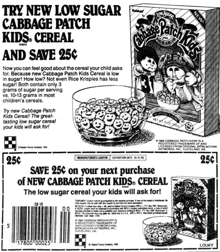 New Cabbage Patch Kids brand Cereal