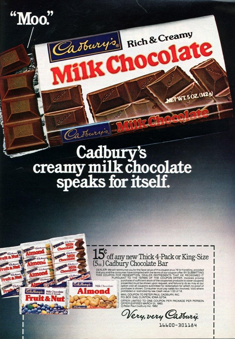 Cadbury milk chocolate bar candy (1982)