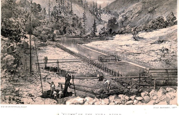 California Gold Rush - a flume on the Yuba River