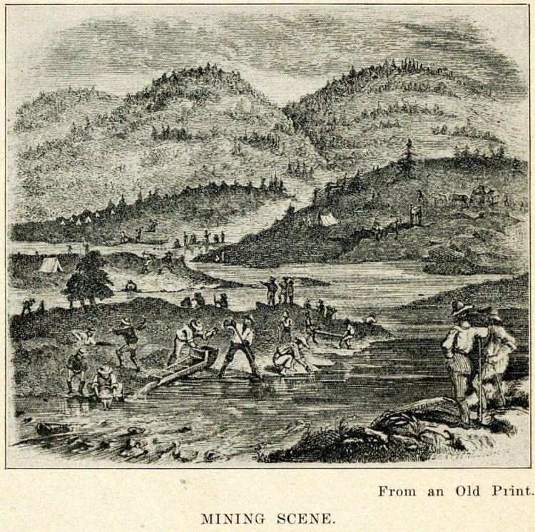 California Gold Rush old mining scene