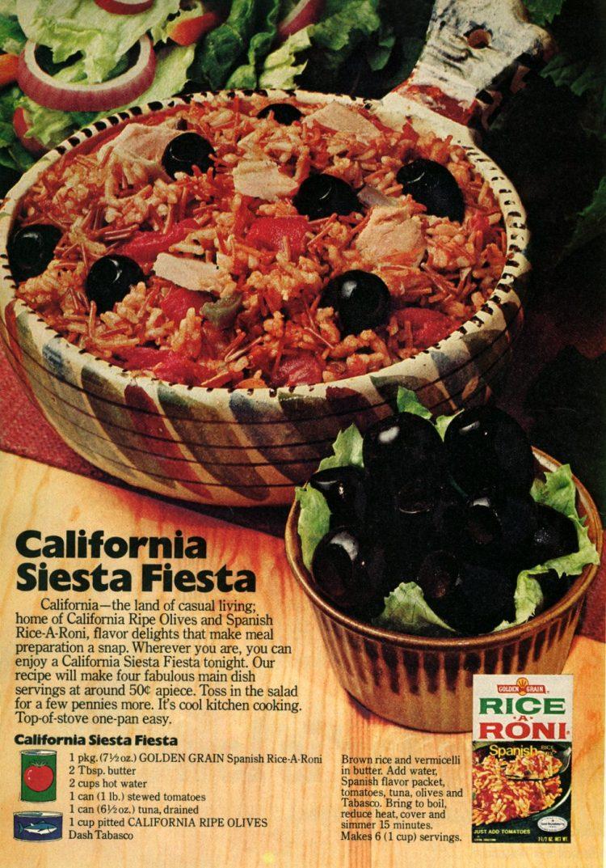 California Siesta Fiesta recipe - Rice with tuna & tomatoes (1976)