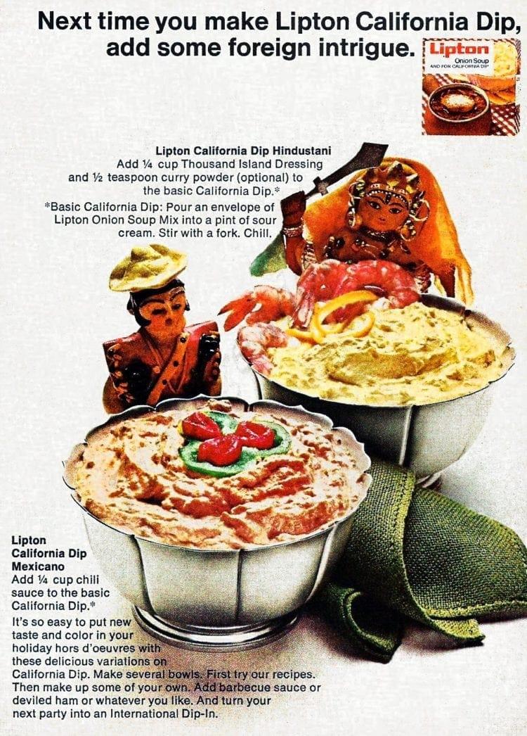 Lipton California dip, add some foreign intrigue (1968)