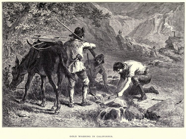 California gold mining - Washing gold from Pioneers in the settlement of America from Florida in 1510 to California in 1849