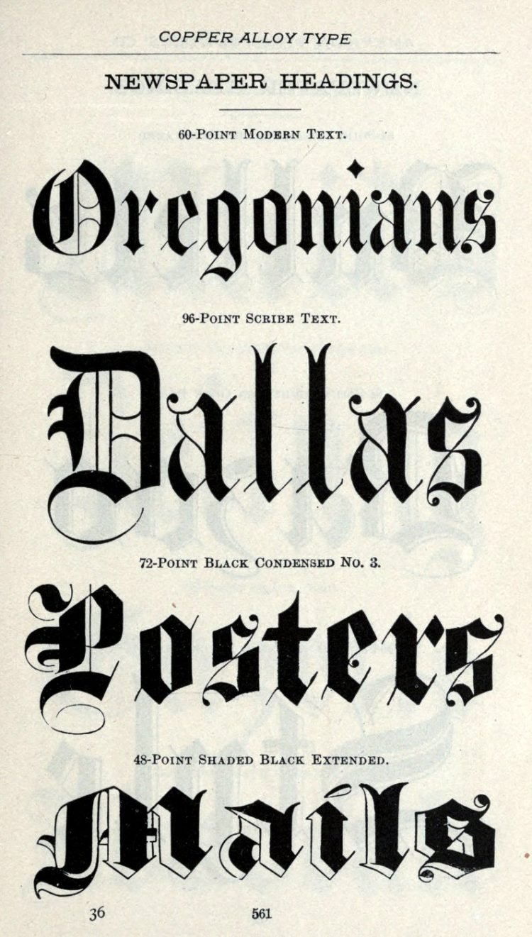 Calligraphy newspaper heading typeface - Vintage font styles