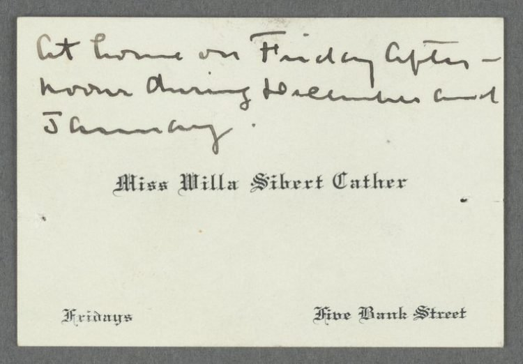 Calling card from Willa Cather