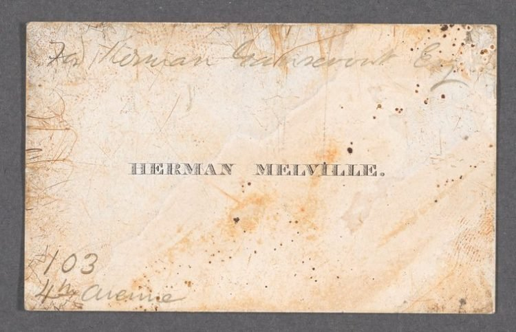 Calling card of Herman Melville