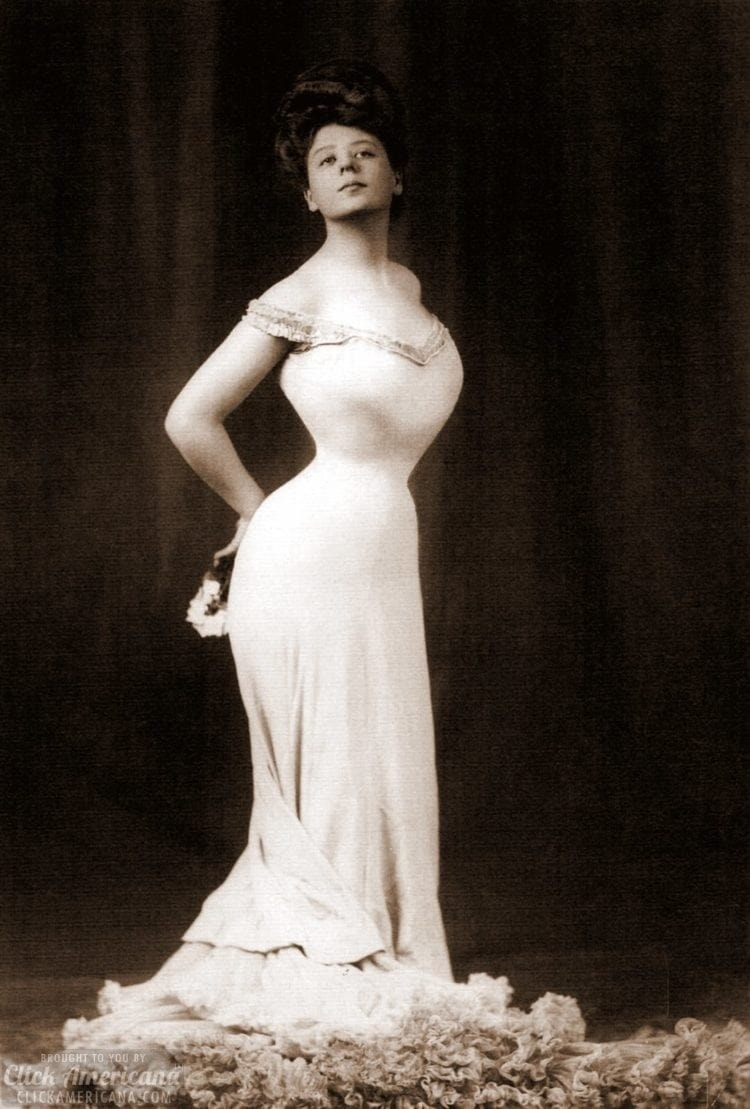Vintage actress Camille Clifford with a very small corseted waist