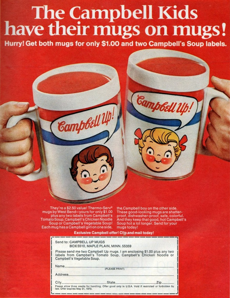 Campbell Kids on mugs - Offer from 1970