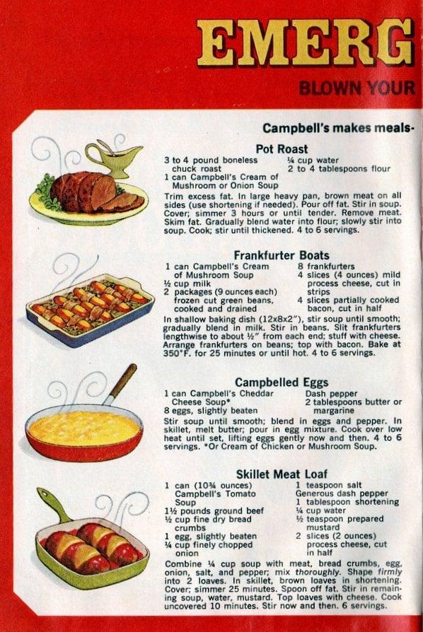 Campbell's emergency dinner Recipes Pot roast, frankfurter boats, Campbelled eggs, Skillet meatloaf