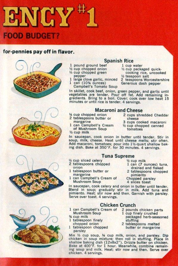 Campbell's emergency dinner Spanish rice, Macaroni & cheese, Tuna supreme, Chicken crunch