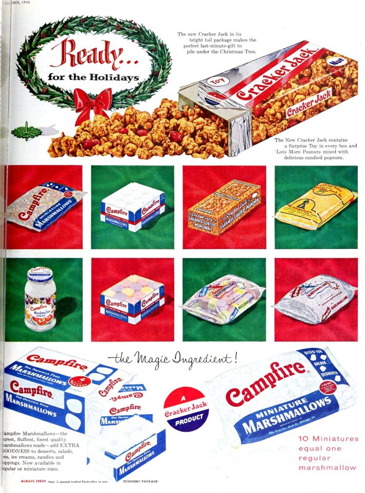 Campfire Marshmallows and Vintage Cracker Jack from 1956