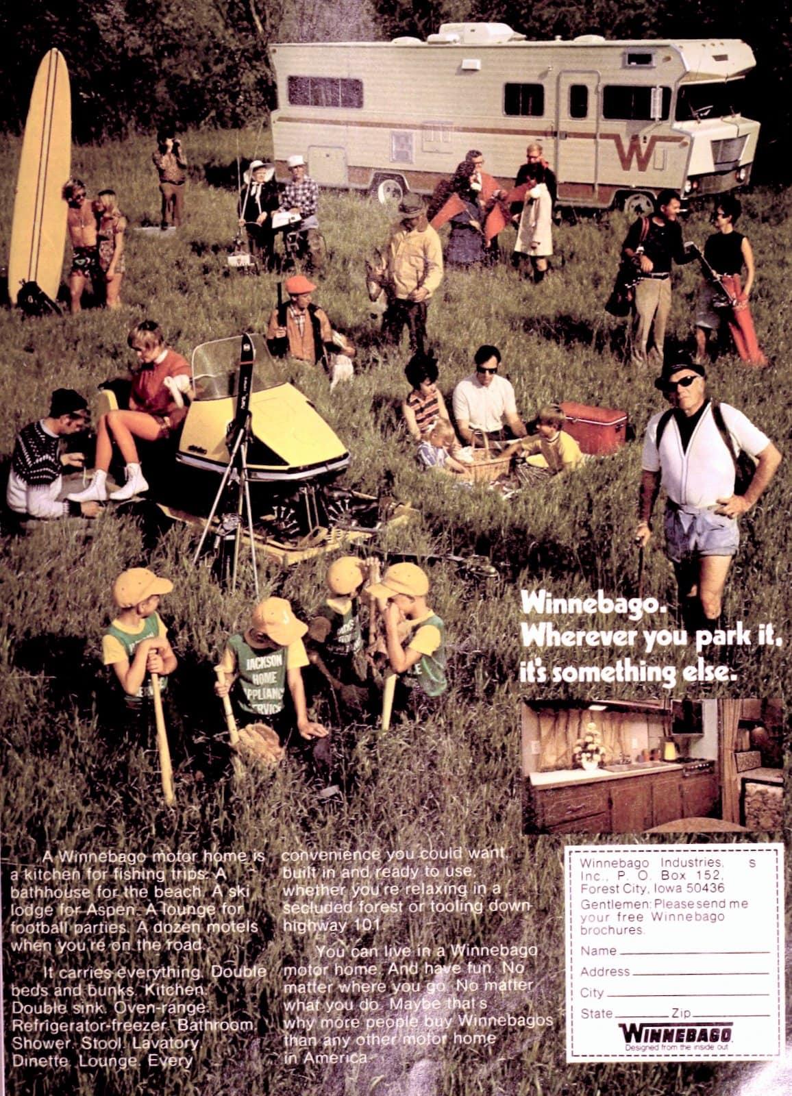 Camping fun in a vintage 70s Winnebago motor home RV