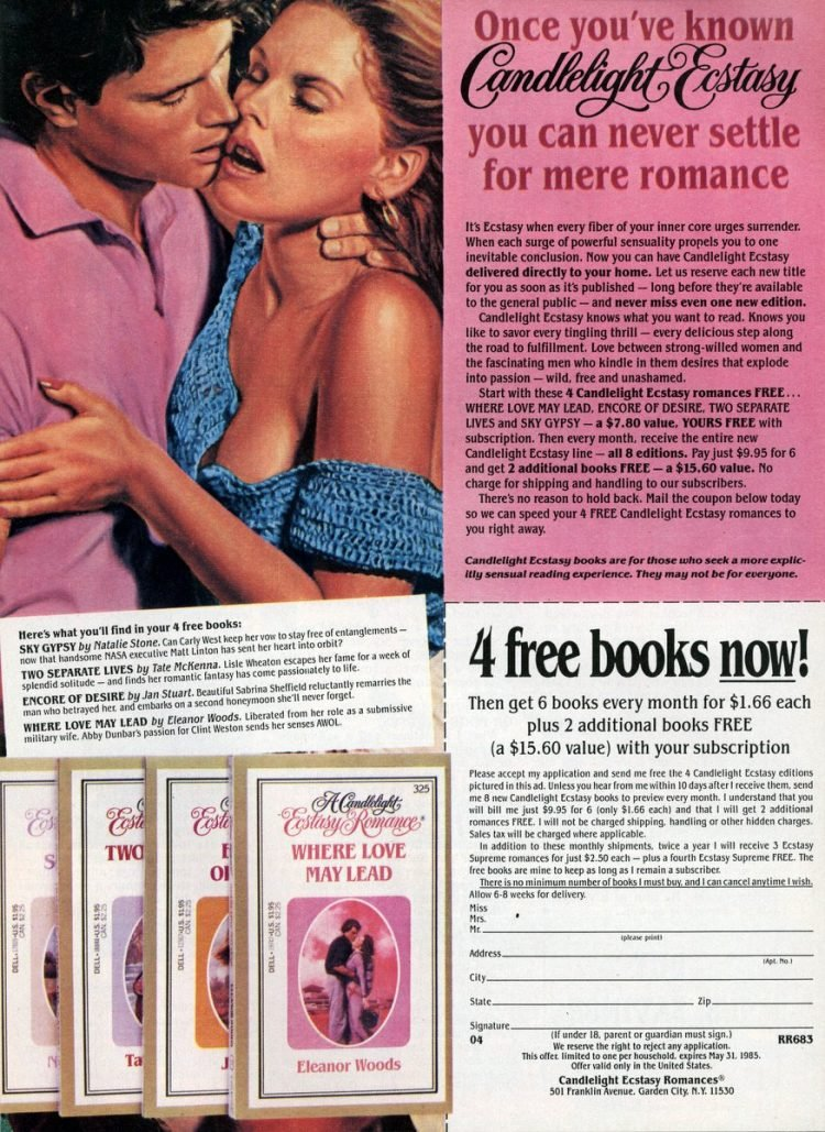 Candlelight Ecstasy book club - 1985