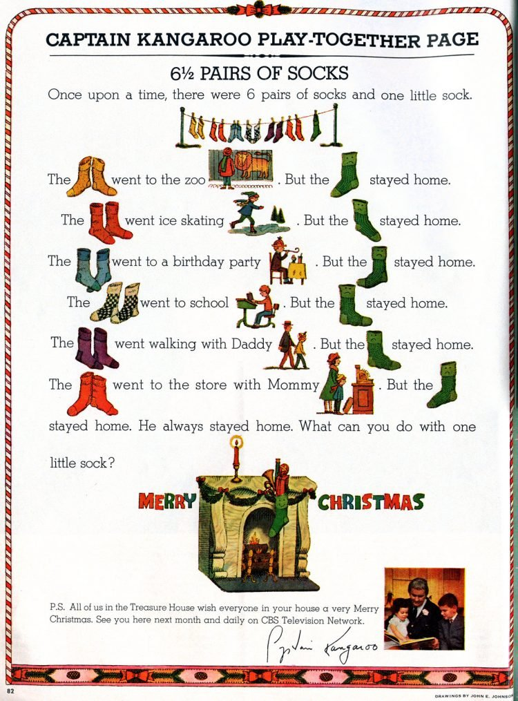 Captain Kangaroo fun play-together page for Christmas 1964