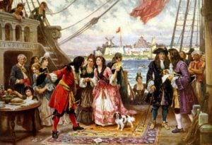 Captain Kidd and his pirate ship