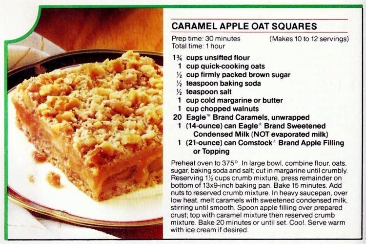 Caramel apple oat squares retro recipe card